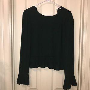 Zara Dark Green Cropped Blouse With Pleats Sz M